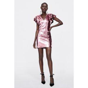 Zara Sequin Dress Pink Sequin